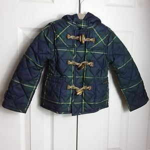 Polo Ralph Lauren Plaid Quilted Toggle Coat Sz 3T